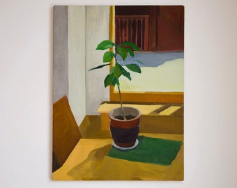Original oil painting Interior with Avocado 18x24 in