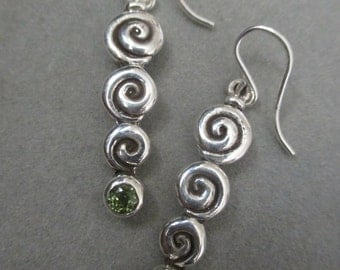 Sterling Silver Swirl Peridot Earrings #ER97SSP
