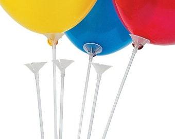 "12 Plastic Balloon Sticks 24"" Long Sticks and 12 balloon Cups"