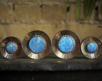 Corrugrated Brass Plugs with Labradorite