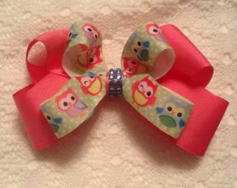 Handmade Pink Owls Hair Bow