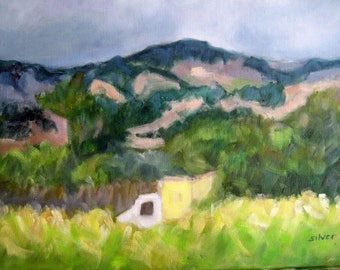 landscape painting, original oil painting, vineyard landscape, mountain painting, nature art, oil on canvas, country painting, valley scene