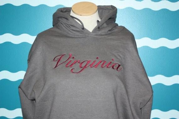 Custom State sweatshirt - Embroidered hooded sweatshirt - State pride embroidered shirt - Embroidered Virginia state sweatshirt