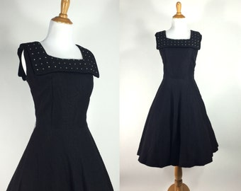 Vintage 1950s Dress | 50s Black Crepe Party Dress with Rhinestones | medium M