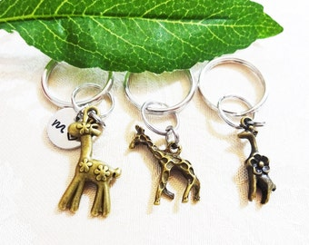 "BRONZE GIRAFFE KEYCHAIN -choose 1 giraffe - with initial charm (fits 1-2 characters) Read ""item details"" below and see all photos"