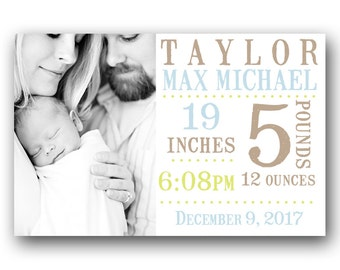 Baby Boy Birth Card - Custom Photo Baby Announcement - Printable - Stamp Text