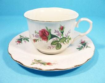 Tea Cup and Saucer,Victoria Bone China, England, pink roses and gold trim