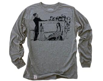Mermaid Aquarium: Tri-Blend Long Sleeve T-Shirt in Heather Grey