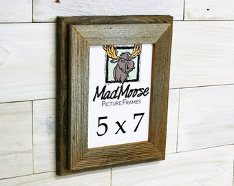 """5x7 Barn Wood [Double x 1.75""""] Picture Frame . . (barn wood frame weathered wood frame rustic frame wood picture frame distressed barnwood)"""