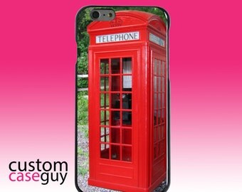 Hard Snap-On Case for Apple 5 5S SE 6 6S 7 Plus - CUSTOM Monogram - Any Colors - Red London Phone Booth