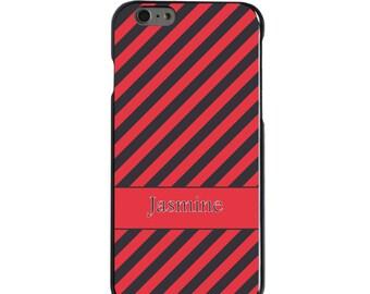 Hard Snap-On Case for Apple 5 5S SE 6 6S 7 Plus - CUSTOM Monogram - Any Colors - Salmon Grey Stripes Name