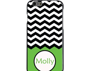 Hard Snap-On Case for Apple 5 5S SE 6 6S 7 Plus - CUSTOM Monogram - Any Colors - Black White Chevron Green Name