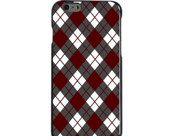 Hard Snap-On Case for Apple 5 5S SE 6 6S 7 Plus - CUSTOM Monogram - Any Colors - Texas A&M Aggies Colors - Gig 'Em - Argyle Pattern