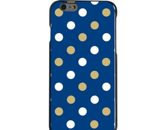 Hard Snap-On Case for Apple 5 5S SE 6 6S 7 Plus - CUSTOM Monogram - Any Colors - Pittsburgh Pitt Panthers Colors - Polka Dots Pattern