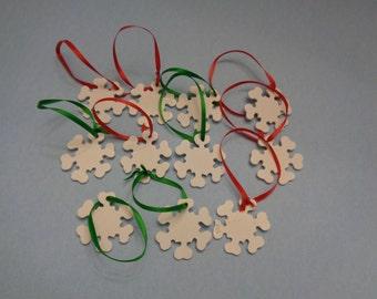 "1.5"" Mini Wood SNOWFLAKE Christmas Ornaments (11)"
