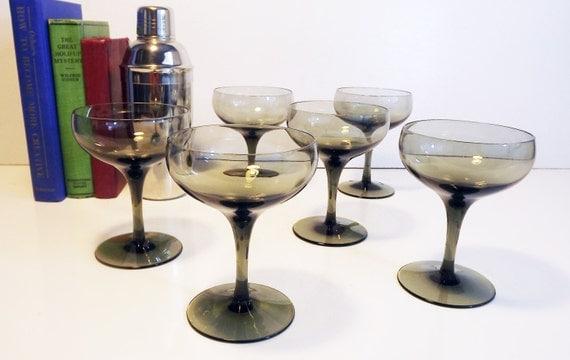 Vintage lenox grey champagne glasses set of 6 vintage - Lenox colored wine glasses ...