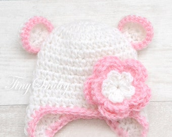 Teddy Bear Hat, White Bear Crochet Baby Hat, Photo Prop, White and Pink Baby Girl Hat, White and Pink, Animal Baby Hat, Baby Earflap Hat