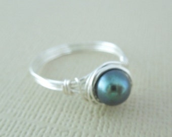 Pearl Ring, Freshwater Pearl Ring, Silver Wire Wrapped Ring