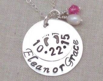 Mothers New Baby Necklace, Personalized New Mom, Baby Feet Pendant – Newborn Baby's Name – Birth Date – Mom Gift