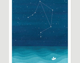 Watercolor painting Libra zodiac constellation scales giclee print nautical wall decor starry night sky home teal art by VApinx