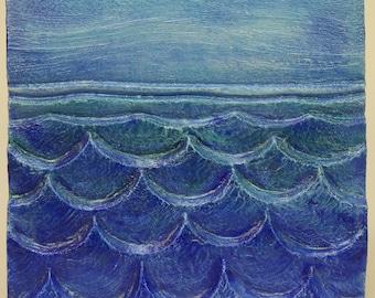 Big waves - Ocean, nautical, decor, handmade ceramic, relief,  art tile, shoreline, beach, colorful aquamarine blue, waters, sea view sky
