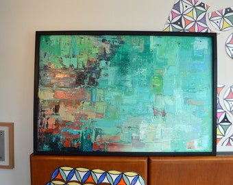 "Levent Deparis Impressionist Abstract Painting ""Summer-green"" 24x36 oil On canvas with Frame"