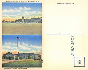 Grenier Air Force Base, Manchester, NH, 1940s Vintage, Curteich-Chicago C.T. Art-Colortone Linen Post Card
