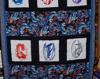 Embroidered Dragon Couch or Lap Quilt