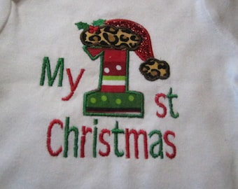 Ready to Ship ~ My 1st Christmas Onsie ~ 0-3 Months ~ Neutral Baby Boy or Girl