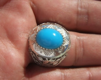 vintage sterling silver 925 natural outstanding turquoise  ring size us : 9