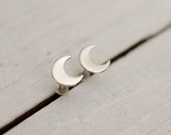 silver ear chip massive Moon, delicate, cute, Star, minimalist