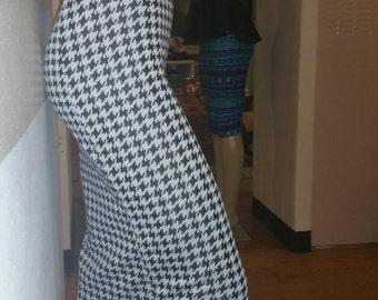 High waist houndstooth midi skirt