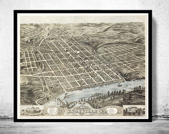 Birdseye View Vintage Map of Knoxville Knox County, Tennessee , Aerial view  United States 1871