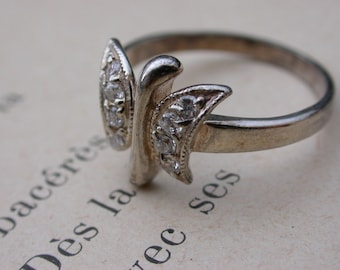 French vintage  silver ring stamped ring  girl butterfly ring size 8 white rhinestone crystal ring