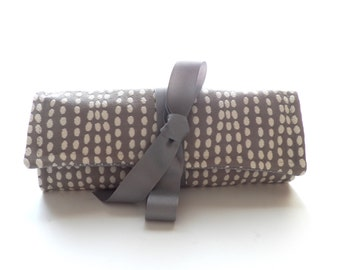 jewelry roll organizer bag for travel or bridesmaid gift in gray and white dots - Jewelry Roll