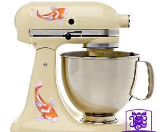 Orange and White Watercolor Koi Fish Kitchen Stand Mixer Wrap Front & Back Decal Set Full Color
