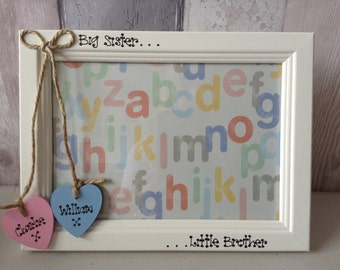 Photo Frame Personalised Big Sister Little Brother Big Brother Little Sister Twins Gift New baby Wooden Heart Christening Gift 5 x 7 inches