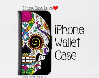 iPhone 7 Plus Case - iPhone 7 Plus Wallet Case - iphone 7 Plus - iPhone 7 Plus Wallet - Sugar skull iPhone 7 Plus Case - Sugar skull