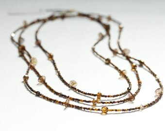 extra long bead necklace / birthday gift necklace / double strand / triple strand / bronze copper #804