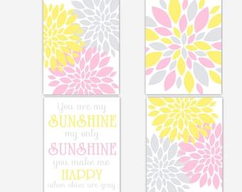 Baby Girl Nursery Decor Pink Gray Yellow Dahlia Mums Flower You Are My Sunshine Girl Room Wall Decor Baby Nursery Decor Flower Wall Art