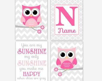 Baby Girl Nursery Art Pink Gray Owl You Are My Sunshine Personalized Art Girl Room Wall Decor Nursery Owl Decor Baby Nursery Decor Artwork