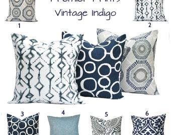 Indigo Blue Navy Gray White Pillow, Throw Pillow, Pillow, Home decor, Decorative Pillow, Accent Pillow, Navy pillow, Home decor