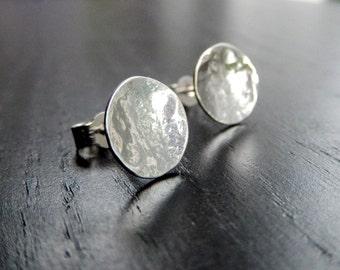 Silver, silver earrings, silver studs, silver stud earrings, hammered silver stud earrings