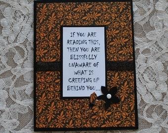 Handmade halloween card, Funny halloween card, creepy card