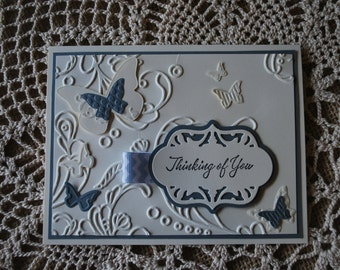 Handmade Greeting Card: Handmade card, Thinking of You, butterflies, embossed card