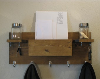 Wall Organizer Coat Rack Mail and Key Holder