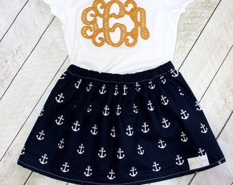 girls anchor outfit anchor skirt with matching gold monogram shirt for baby girl birthday anchor skirt set navy blue and gold anchor skirt