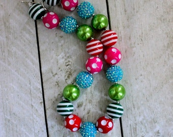 girl chunky bead bubblegum necklace red pink aqua lime green christmas necklace for girls birthday necklace in lime green red toddler girl