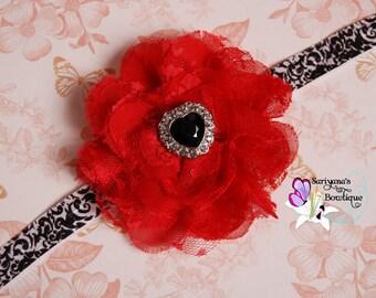 Red Chiffon Lace Flower Black Pearl Rhinestone Headband, Heart Rhinestone Headband - Baby Girl Toddler Woman Vintage - SB-073a