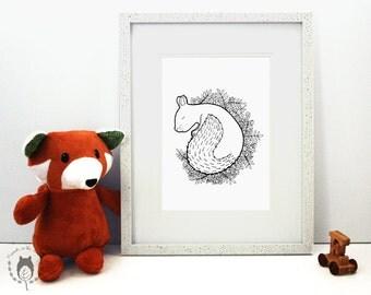 Sleepy squirrel print, squirrel themed illustration, children's gift ideas, woodland themed print, fine art print, nursery decor